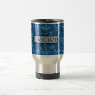 Personalized Blue Camo Pattern Travel Mug
