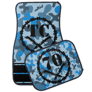 Personalized Blue Camo Skull Knives Barbed Wire Car Mat