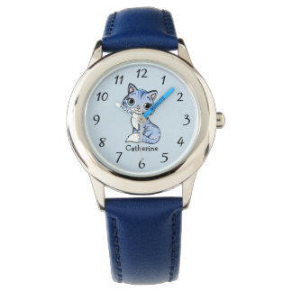 Personalized Blue Cat with Big Expressive Eyes Watch