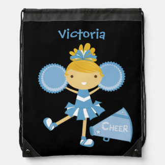 Personalized Blue Cheerleader Drawstring Bag
