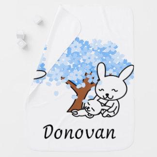 Personalized Blue Cherry Blossom Bunny Pramblanket