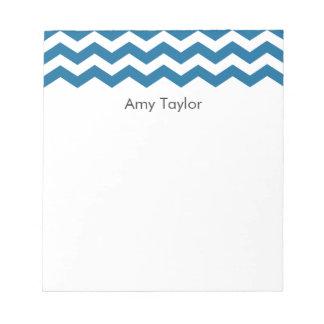 Personalized Blue Chevron Stripes Memo Pad