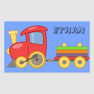 Personalized Blue Child s Toy Train Sticker Rectangle Sticker