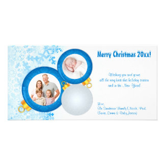 Personalized Blue Christmas Ornaments Photo Card