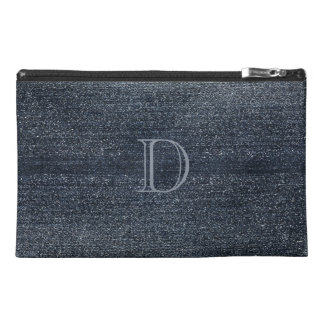 Personalized Blue Denim  Look Monogrammed Bag Travel Accessory Bag