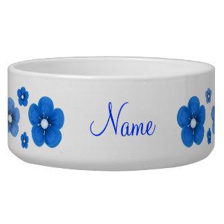 personalized Blue Flower Dog Bowl