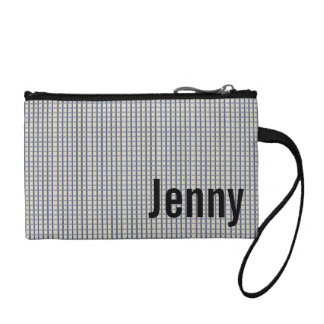 Personalized Blue Gingham Checked Coin Purse