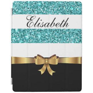 Personalized BLUE glitter Black  white Stripes BOW iPad Cover