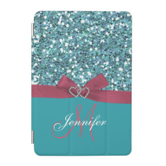 Personalized Blue Glitter, Pink Printed Bow iPad Mini Cover