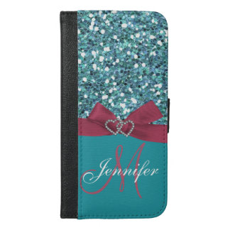 Personalized Blue Glitter, Pink Printed Bow iPhone 6/6s Plus Wallet Case