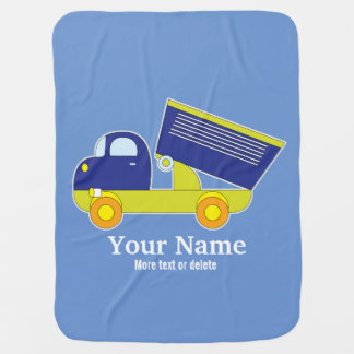 Personalized Blue & Green Construction Dump Truck Baby Blanket