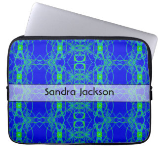 Personalized Blue green lace like abstract pattern Laptop Sleeve
