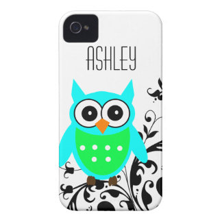 Personalized Blue Green Owl iPhone 4 Case