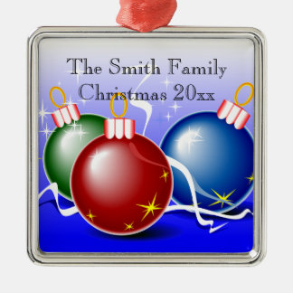 Personalized Blue Green Red Christmas Ornament