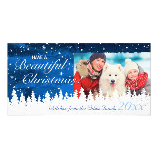 Personalized Blue Holiday Christmas Photo Cards