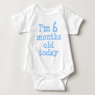 Personalized Blue I'm 6 months old today Baby Bodysuit