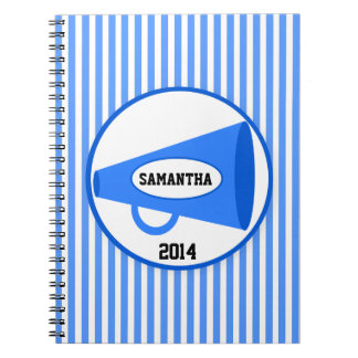 Personalized Blue Megaphone And Blue Stripes Notebook