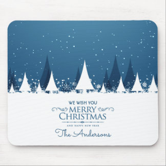Personalized Blue Merry Christmas | Mousepad