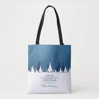 Personalized Blue Merry Christmas | Tote Bag