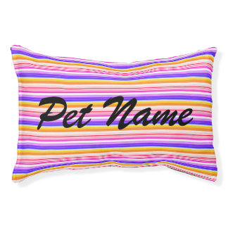 Personalized Blue Orange Striped Pattern Pet Bed