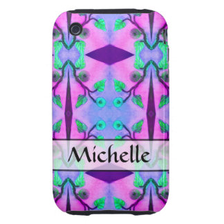 personalized blue pink flower abstract tough iPhone 3 case