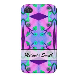 personalized blue pink flower abstract cover for iPhone 4