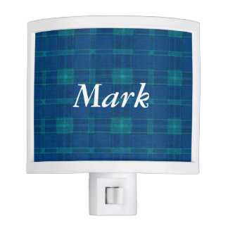 Personalized Blue Plaid Night Light