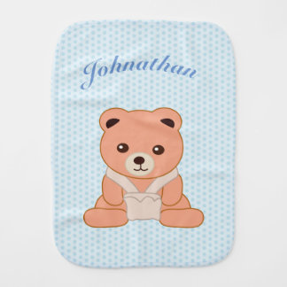 Personalized Blue Polka Dot Baby Bear Burp Cloth