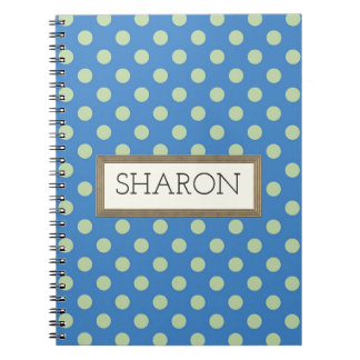 Personalized Blue Polka Dot Notebook