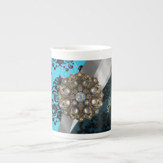 Personalized blue pretty girly damask pattern tea cup