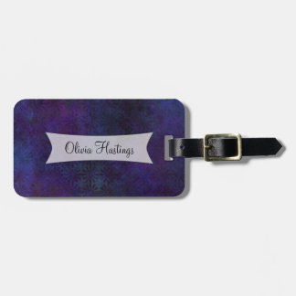 Personalized Blue & Purple Abstract Grunge Bag Tag