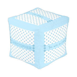 Personalized blue stars baby pouf