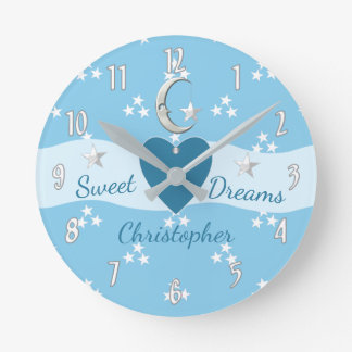 Personalized blue Stars & Moon Round Clock
