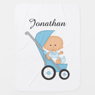 Personalized Blue Stroller Baby Blanket