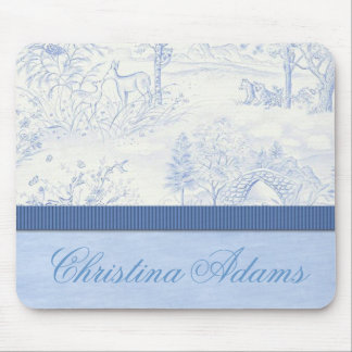Personalized Blue Toile Mousepad