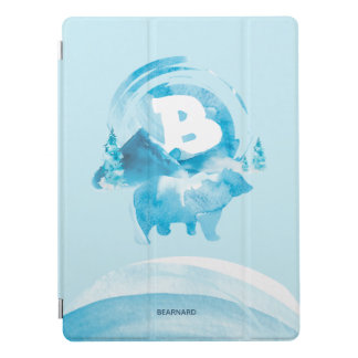 Personalized Blue Watercolor Bear and Mountain iPad Pro Cover