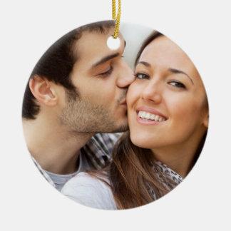 Personalized Blue White Chevron Photo Wedding Date Ceramic Ornament