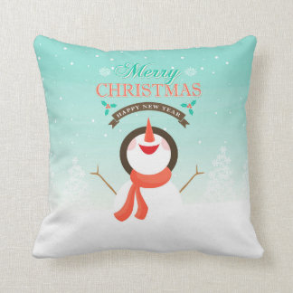 Personalized Blue White Christmas Snowman Pillow