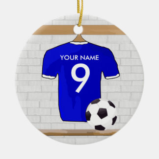 Personalized Blue White Football Soccer Jersey Christmas Tree Ornaments