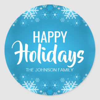 Personalized Blue White HAPPY HOLIDAYS Snowflakes Classic Round Sticker