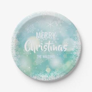 Personalized Blue White MERRY CHRISTMAS Snowflakes Paper Plate