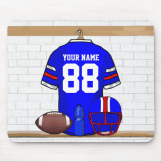 Personalized Blue White Red Football Jersey Mouse Pad