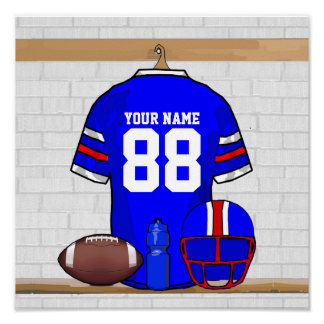 Personalized Blue White Red Football Jersey Poster