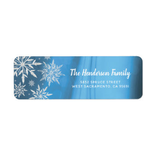 Personalized Blue Winter Christmas Snowflake Return Address Label