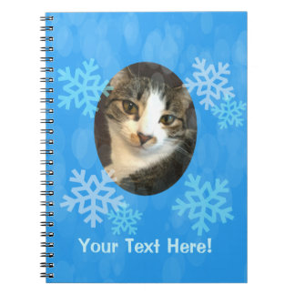 Personalized Blue Winter Snowflakes Spiral Notebook