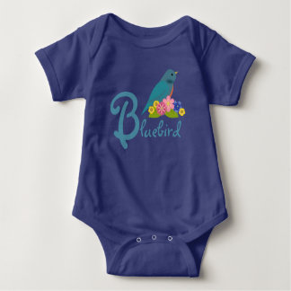 Personalized Bluebird Motif with Flowers Baby Bodysuit