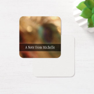 Personalized, Blurred Abstract Photo Message Notes Square Business Card