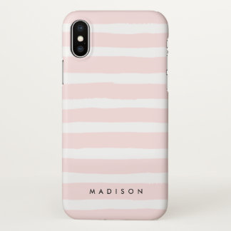 Personalized Blush Pink and White Brushed Stripe iPhone X Case