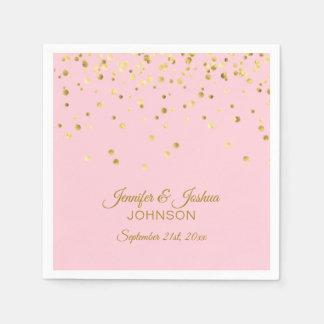 Personalized Blush Pink Rose Gold Confetti Wedding Disposable Serviettes