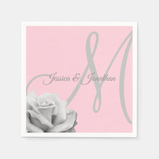 Personalized Blush PINK Rose Monogrammed Wedding Disposable Napkins